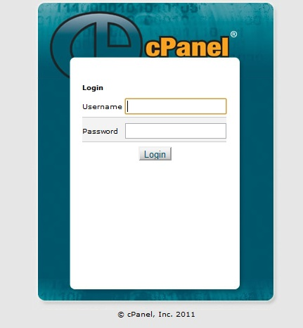 cPanel login screen