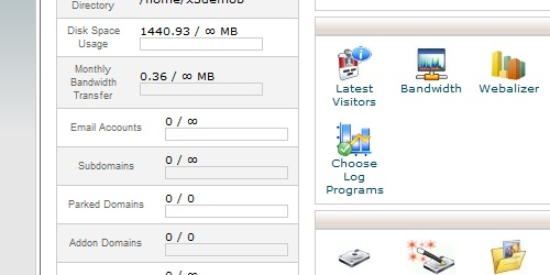 Disk Space usage within cPanel.
