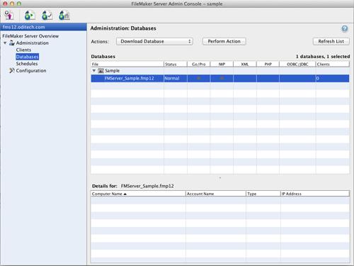 FileMaker Admin Databases