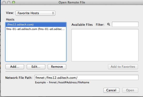Open Remote dialog window