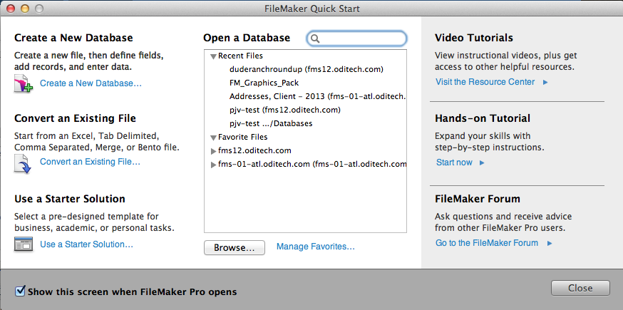 FileMaker welcome window popup