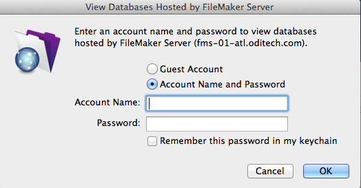 Username andPassword dialog box popup