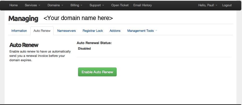 Auto Renewal information screen