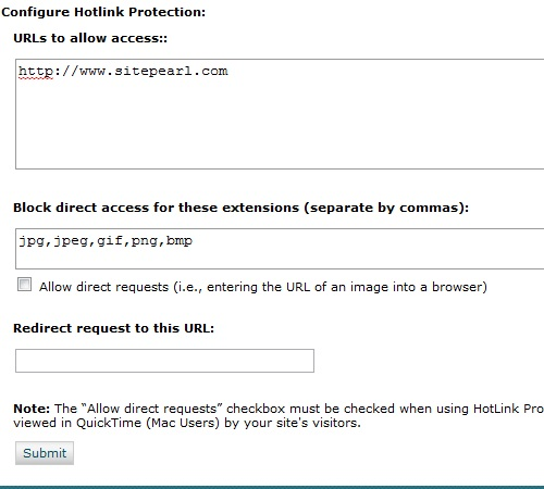Updating your hotlink protection settings.